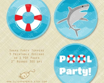 Shark Printable Cupcake Toppers Round Circle Tag life preserver pool party instant download digital pdf treat bag tags stickers diy