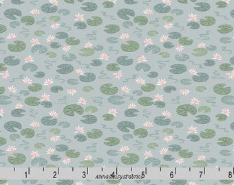 Lily Pad Fabric, Lewis & Irene Down by the River A223 1 Lily Pads on Light Blue, Floral Quilt Fabric, Cotton Yardage