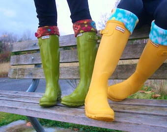 SLUGS Fleece Rain Boot Liners Turquoise With A Ikat Tribal Cuff in Turquoise and Yellow, Tall Socks (Med/Lg 9-12 Boot)