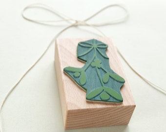 Mistletoe Stamp, Plant Stamp, Botanical Plant Rubber Stamp, Gardening Stamp, Flower Stamp, Nature stamp, Christmas Stamp, Stamps Xmas