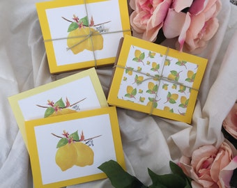 Lemon Greeting Cards- set of 12 blank cards with envelopes