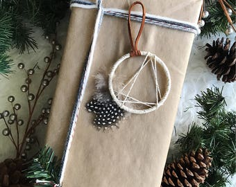 Modern Dream Catcher Christmas Ornament, Boho Christmas Ornament, Gold Ornament, Bohemian Gifts, Gold Dreamcatcher, Modern Rustic Ornament