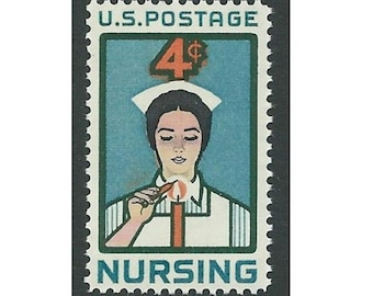4c NURSING ISSUE 1961.. Pack of 10 Vintage Unused US Postage stamps. Hospital gift, Get well soon, Angels of mercy, Nursing student