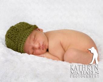 Green Baby Hat with visor, Newborn Newsboy Beanie, OVERSTOCK SALE - PREEMIE