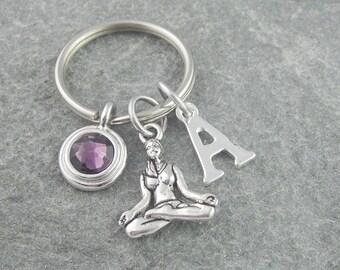 Yoga keychain, yoga keyring. initial keychain, birthstone keychain, personalized keyring, monogram keychain, yoga gift, zen gift, pilates