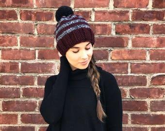 Knit Hat, Striped Hat, Burgundy & Gray Knit Hat, Black Pom Pom Hat, Neutral Knit Hat, Knit Beanie, Womens Hat, Adult Hat, Winter Hat