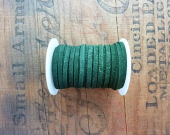 Suede Leather Cord 3mm Wide Green Suede Cording Leather Cord Bulk Spool Leather Cord (1 Spool) Dark Green