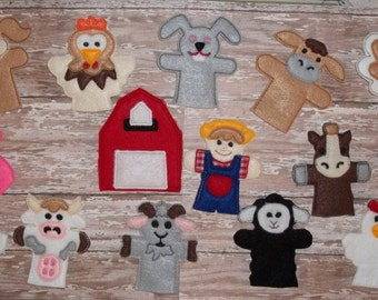 Old MacDonald Finger Puppet Set Party Favors Farmer and 13 Animal Finger Puppets Shown and his Barn not finger Puppet  about 3.75' tall