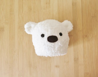 Fluffy White Baby Bear Hat - White Bear Baby Beanie - Bear baby hat - Furry white bear hat for baby
