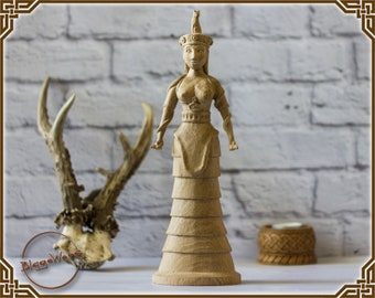 Minoan snake goddess statue, crete, pagan, wiccan, wicca, altar, witches, mythology