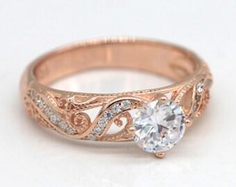Vintage Floral Ring/Rose Gold Ring/Sterling silver floral ring/Promise Ring S113
