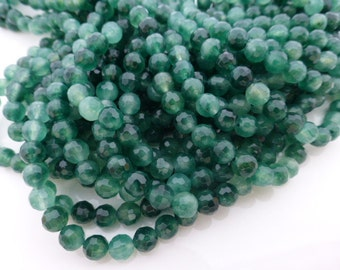 Jade Faceted Round Green Beads 6mm - 15.5 Inch Strand (approx 65 beads), Gemstones, UK Seller (GB1035)