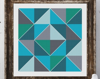 Olivia Block Barn Quilt Square Traditional Cross Stitch Pattern Needlepoint Embroidery Country Farmhouse Print Blue Grey Decor Farm House
