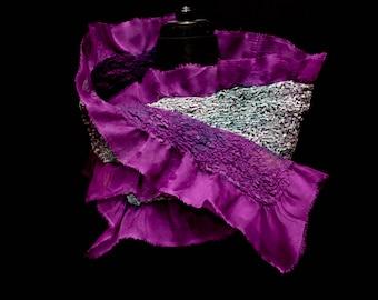 Iris - hand-felted silk organza silk burnout velvet and merino wool scarf