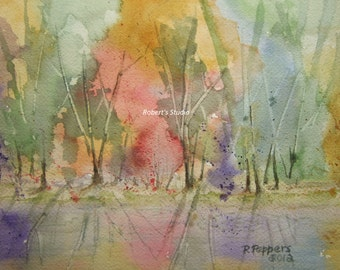 Autumn Color Print of Original Watercolor Painting, landscape painting, fall landscape, watercolor print.