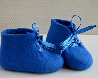 Blue merino wool first boots children Felted baby shoes newborn gift Warm handmade baby boots