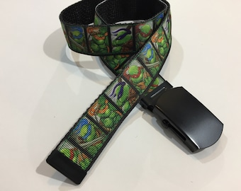 "Ninja Turtles Belt in All Sizes with a Military Buckle 1"" Wide"