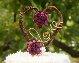 Floral Vine Cake Topper With Purple Pink Roses For Rustic Reception