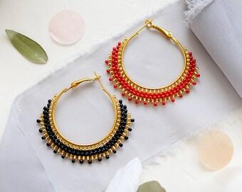 Mismatched Earrings Hoop Earrings Black Boho Earrings Mix and Match earrings Red and Black Earrings Gypsy Jewelry Summer Earrings Hoops