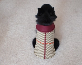 Green Angle Print Fleece Dog Coat