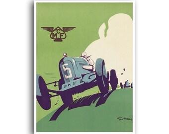 Vintage Car Art Auto Racing Race Car Print Motor Sports Poster (H380)