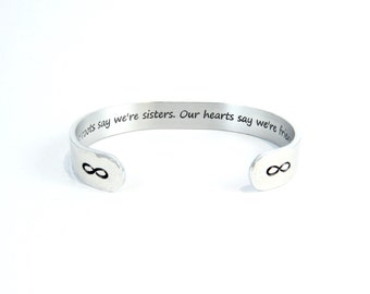 """Sister to Sister Gift - """"Our roots say we're sisters.  Our hearts say we're friends."""" 3/8"""" hidden / secret message cuff bracelet"""