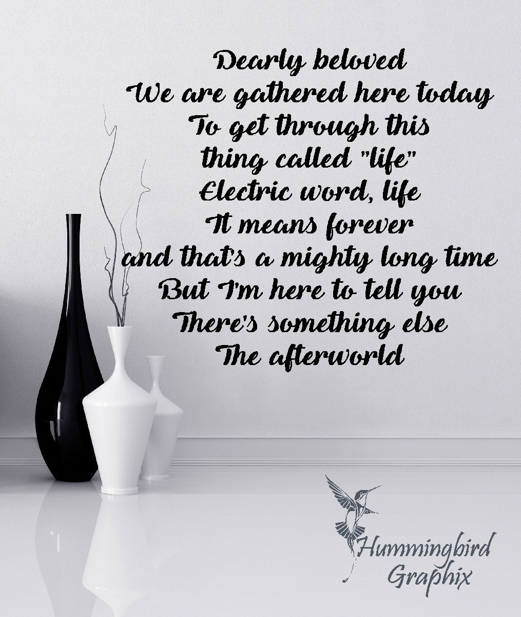 This Thing Called Life Quotes Wall Decal Let's Go Crazy Prince Decal Wall Lyrics