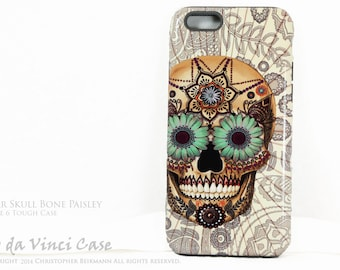 Sugar Skull iPhone 6 6s Case - Sugar Skull Bone Paisley - Day of the Dead iPhone 6s case - dual layer tough case - Dia De Los Muertos Case