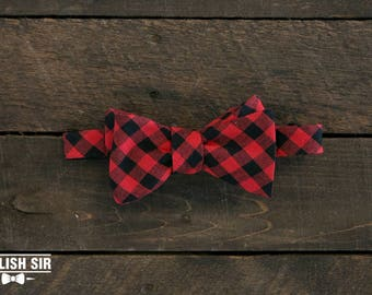 The Woodsman Bow Tie Stylish Sir Perfect Gift For Groomsmen Formal Classic Modern Bowtie Self Tie Plaid Flannel Pattern