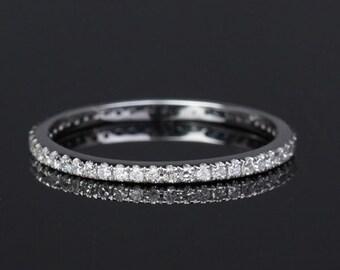 Thin Design -14K White Gold  Diamond Eternity Band, Diamond Ring Wedding Band Matching Band, Same Day  U.S. Shipping