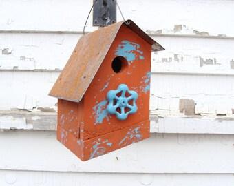 Rustic Orange Birdhouse Outdoor Birdhouses Functional Bird House