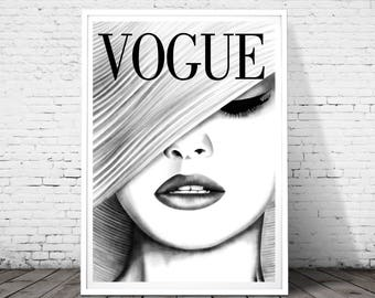 Vogue print, Vogue poster, vogue wall art, Fashion Print, Fashion Illustration, fashion wall art,Vogue Cover Print ,Vogue decor, drawing