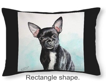 Throw Pillow, Black Chihuahua, size of 14x14 to 26x26 inches Fine Art Painting by Christopher Shellhammer