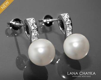 White Pearl Bridal Earrings Small Pearl CZ Earring Studs Swarovski 8mm Pearl Sterling Silver Posts Earrings Wedding Jewelry Bridal Jewelry