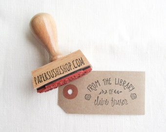 Custom Bookplate Stamp - personalized hand lettered bookplate - handled stamp or self inking bookplate - book stamp - B0005