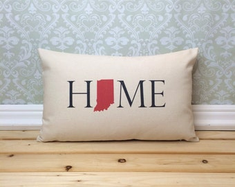 Indiana Pillow, Long Pillow, Home Pillow, State Pillow, Home Decor, House Warming Gift, House Warming Pillow, Custom Pillow, Lumbar