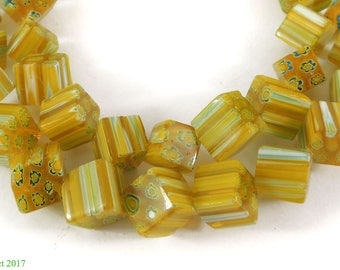 Cube Trade Beads Yellow Czech African 26 Inch 115118