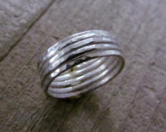 Quintet Sterling Silver Stacking Rings .925 Sterling Silver Textured Rings