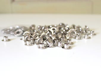 """100 Grommets and Washers #0 1/4""""  Nickel Eyelets Set Scrap Booking Paper Tag and Card Making Leather Work Sewing Hardware Craft Supply"""
