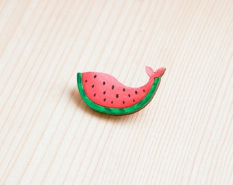 Watermelon whale badge brooch pin wooden wood painted gift present idea