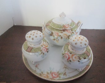 Vintage Handpainted Nippon Sugar Bowl, Salt and Pepper Shakers with Matching Tray