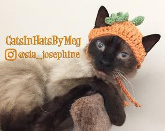Handmade Crochet Pumpkin Hat for Cats