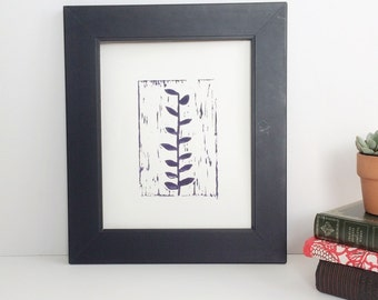 A Naturalist Garden Ivy blockprint in Purple Plant 8x10  linogravure