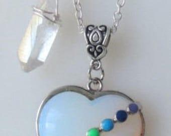 Rainbow Chakra Opalite Heart with Clear Quartz Raw Crystal Point Necklace Handmade