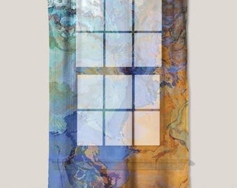 "Sheer Curtain with Abstract Art in dark orange, blue and aqua, 50""x84"" sheer drapery panel, contemporary rod pocket curtain, The Bridge"