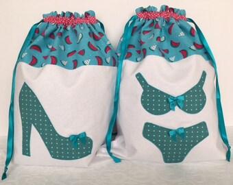 Turquoise Pink Melon Drawstring Lingerie Shoe Bag Washbag