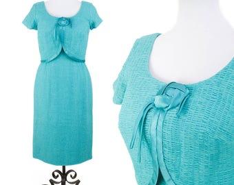 1950s Dress // Ruched Turquoise Chiffon Wiggle Dress
