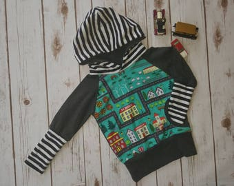 Grow With Me Hoodie, Cars, City, Toddler Hoodie, Grow With Me Top, Kids hoodie, Stripes, Black and White