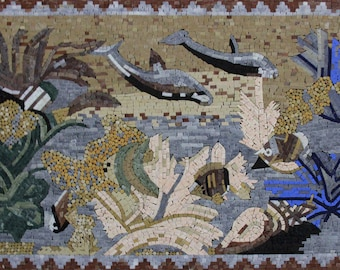"""Deep Under The Sea Coral Fish Dolphins Art 51""""x34"""" Marble Mosaic AN1240"""