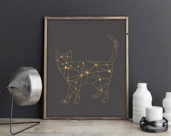 Gold Foil Cat Print, Cat Illustration Art, Geometric Cat, Cat Wall Art, Cat Printable, Cat Poster, Cat Tangram, Abstract Minimalist Nursery